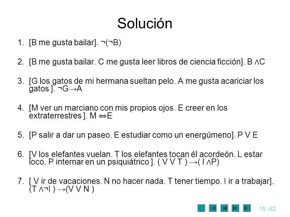 Solución [B me gusta bailar]. ¬(¬B)
